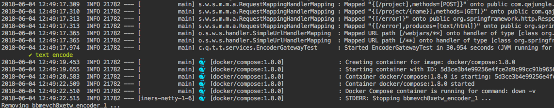 testcontainer result encoder service